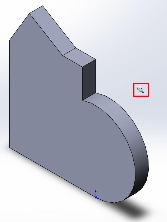 Измененный курсор мыши при активном инструменте увеличить элемент вида в SolidWorks