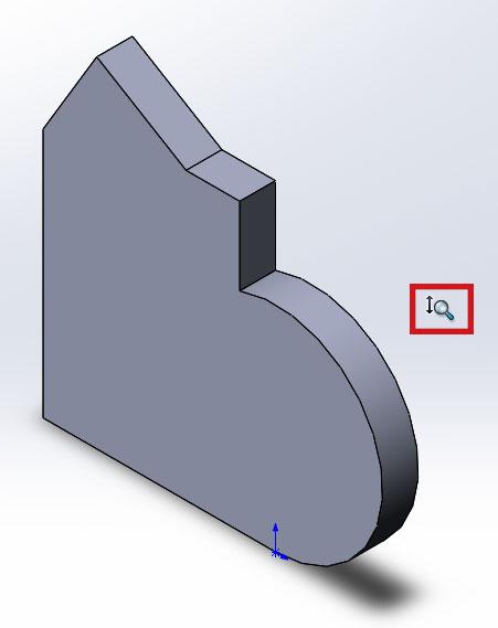 Изменённый курсор мыши инструмента увеличить/уменьшить вид в SolidWorks