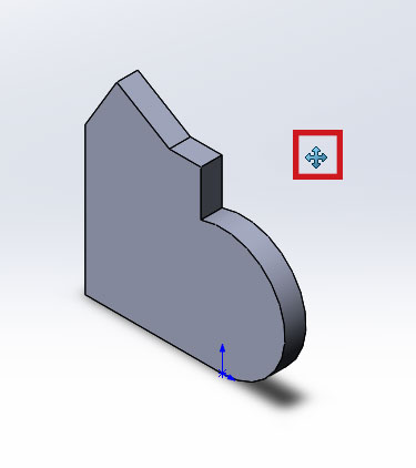 Изменённый курсор мыши на инструмент переместить в SolidWorks.