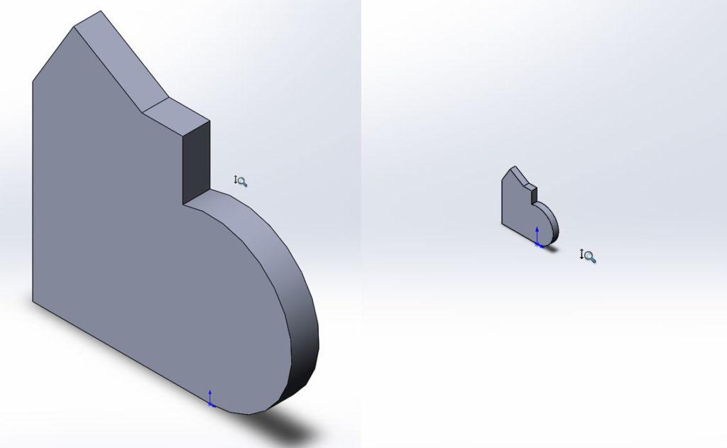 Увеличение и уменьшения вида 3D модели в SolidWorks.