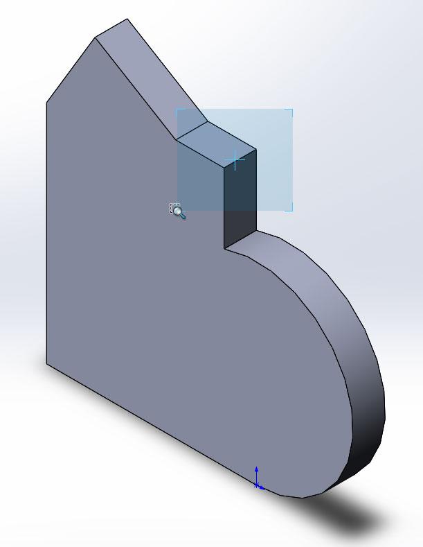 Выбор области элемента для увеличения в SolidWorks