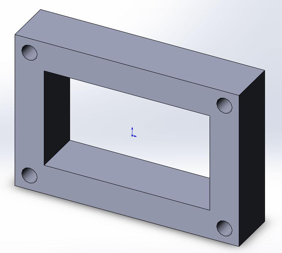 3д модель в SolidWorks созданная с помощью элементов «Вытянутая бобышка» и «Вытянутый вырез».