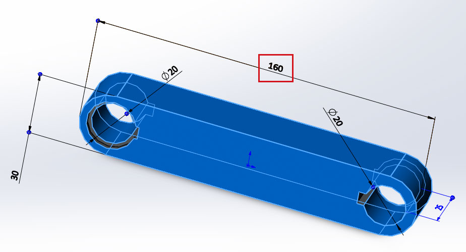 Кривошип и коромысло, 3D модель в SolidWorks