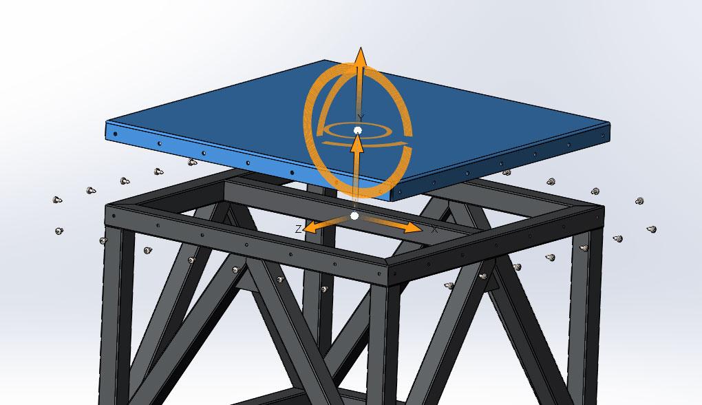Вид с разнесенными частями сборки табурета в SolidWorks