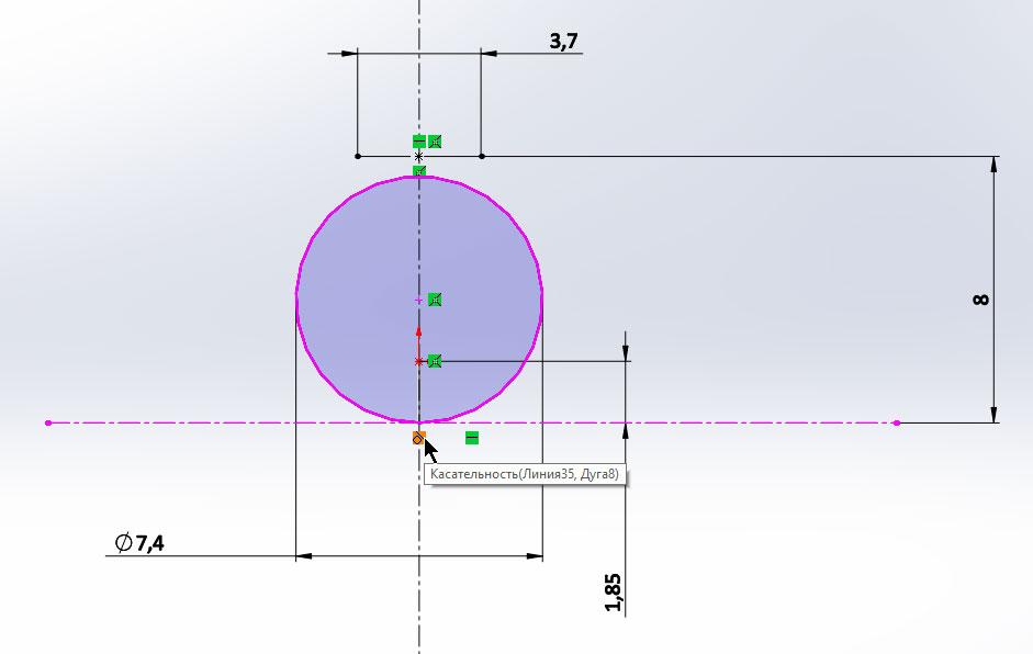 3D-модель загнутого шплинта в SolidWorks