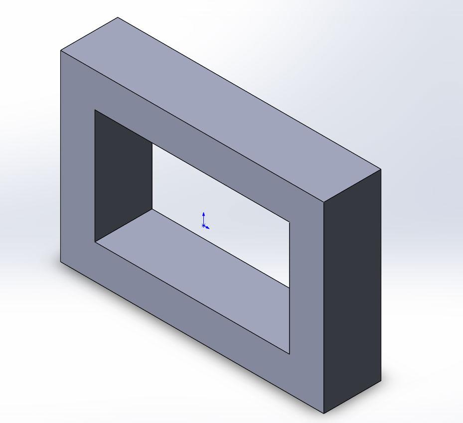 Прямоугольник построенный с помощью инструмента бобышка вытянуть в SolidWorks.