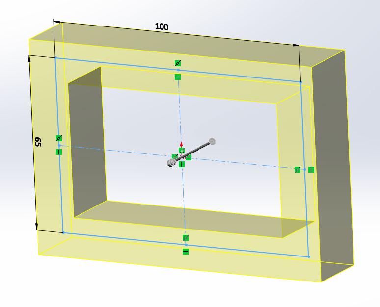 Прямоугольник стенка 15мм в SolidWorks