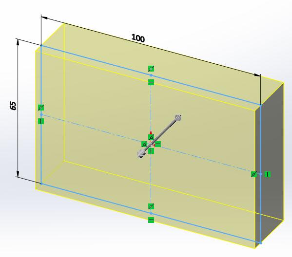 Прямоугольник высотой 25мм в эскизе SolidWorks