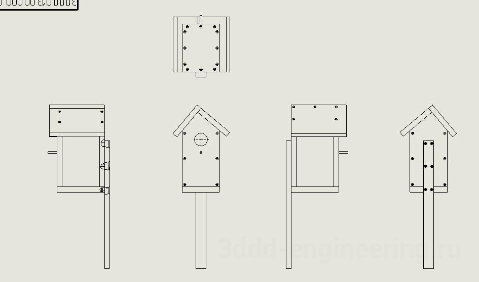 Сборочный чертеж скворечника в SolidWorks