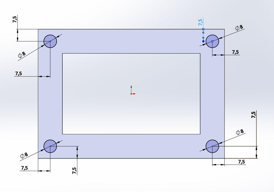 Эскиз 4 отверстия для вытянутого выреза ф8мм в SolidWorks