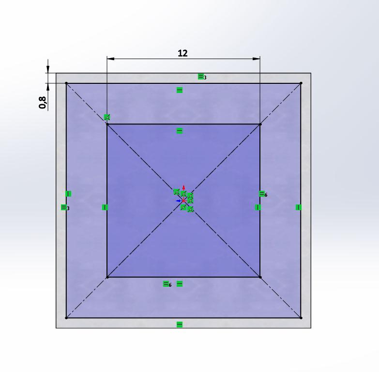 3D модель пластиковой заглушки 20х20 в SolidWorks