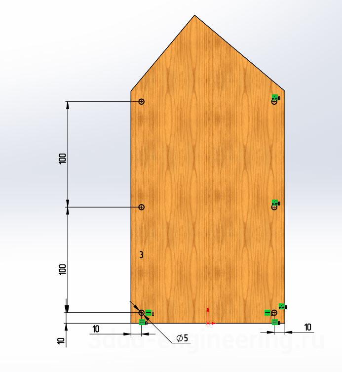 3D модели деталей для скворечника в SolidWorks