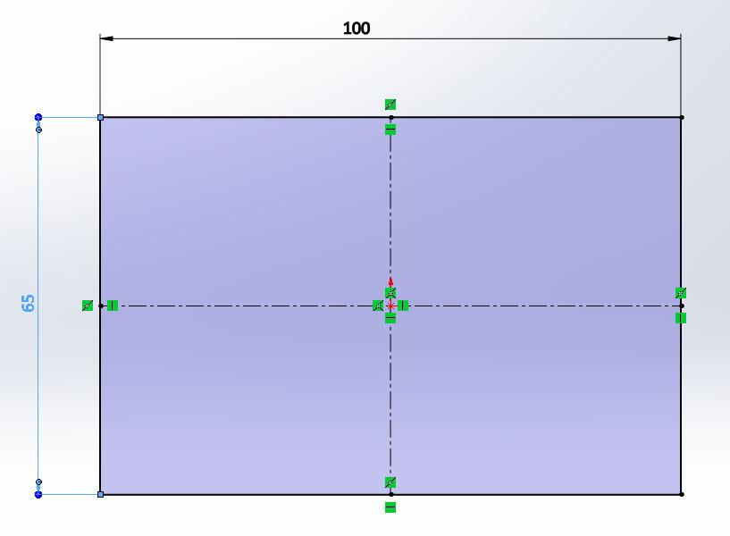Эскиз прямоугольника в SolidWorks